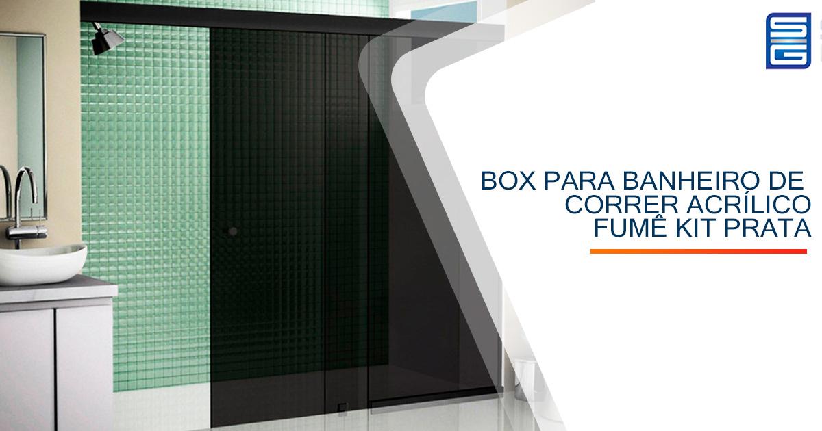 Box para Banheiro de Correr Vidro Fumê Kit Preto
