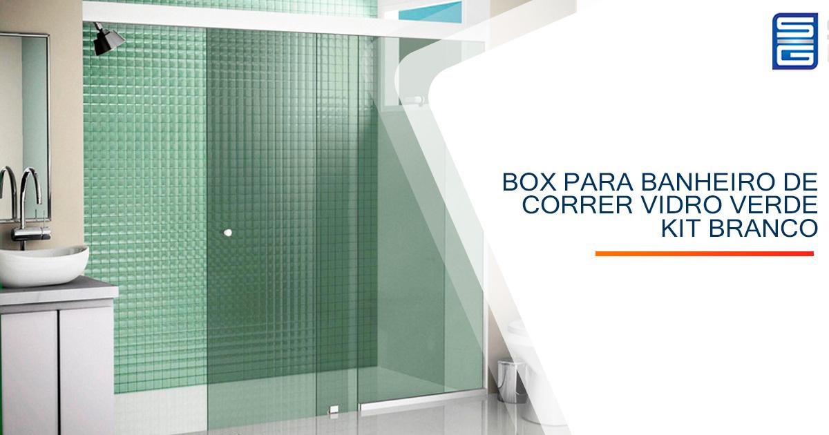 Box para Banheiro de Correr Vidro Verde Kit Branco