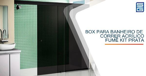 Box para Banheiro de Correr Vidro Fumê Kit Preto Guarulhos