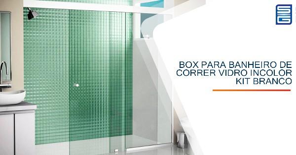 Box para Banheiro de Correr Vidro Incolor Kit Branco Guarulhos