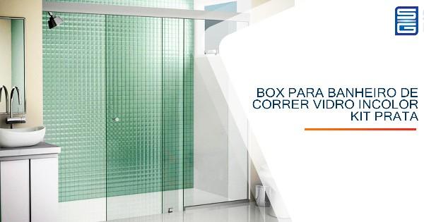 Box para Banheiro de Correr Vidro Incolor Kit Prata Guarulhos