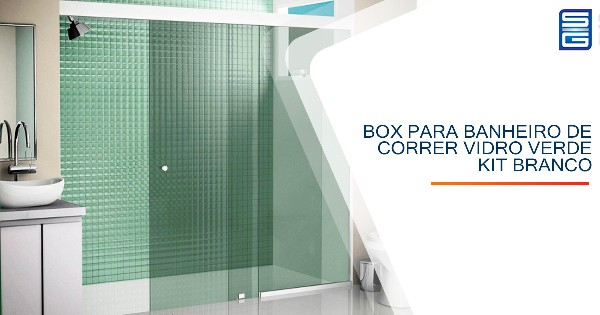 Box para Banheiro de Correr Vidro Verde Kit Branco Guarulhos
